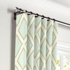 Pastel Aqua Blue Diamond Curtain, Ring Top | Loom Decor