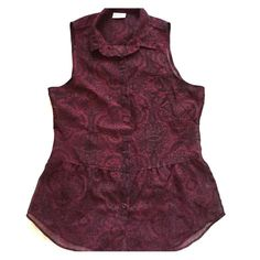 Rocker Chic Sleeveless Blouse Maroon button up with black paisley print. This is a beautiful top!! It can be dressed up or down. Excellent condition & fast shipping!  LA Hearts Tops Button Down Shirts