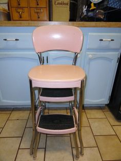 Reserved For Karen Vintage Stool Kitchen Utility Step Pink 1950s Retro Cosco