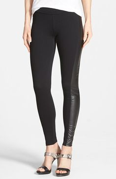 Free shipping and returns on kensie Faux Leather Trim Ponte Leggings at Nordstrom.com. Sleek panels with the look of supple leather bring rocker-chic glam to stretchy ponte leggings that add instant edge to your look.