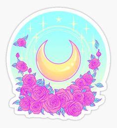 Pegatina Moon and Roses