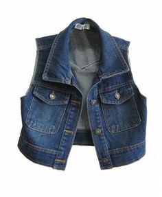 Retro Dark Blue Cropped Denim Vest with Point Collar