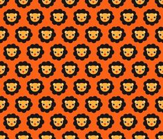 Cute retro circus animal - lion illustration wallpaper & fabric in orange and brown - by Little Smilemakers Studio on Spoonflower  Home deco inspiration for your wall or cute prints for fashion items or home textiles.