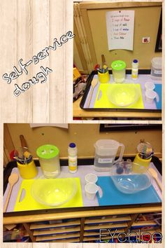 Self-service dough area. Make your own dough, following the recipe. EYchloe