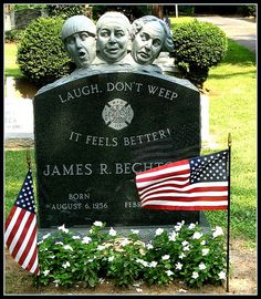 This memorial in Hillside Cemetery in Metuchen is in honor of a firefighter, a fan of the Three Stooges, who wanted his family and others to smile and laugh when they visited his grave. Cemetery Monuments, Cemetery Statues, Cemetery Headstones, Old Cemeteries, Cemetery Art, Graveyards, Unusual Headstones, Famous Tombstones, The Three Stooges