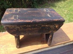 Very Nice Primitive Antique Mortised Pine  Porch Footstool Or Mini Bench Ca 1900 $85