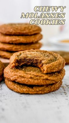 Easy Cookie Recipes, Cookie Desserts, Just Desserts, Delicious Desserts, Dessert Recipes, Yummy Food, Holiday Baking, Christmas Baking, Ginger Molasses Cookies