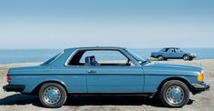 Mercedes-Benz 123 series 300CD coupe and 240D sedan together (North American specification models).