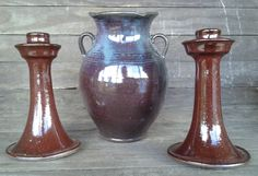 Candle sticks and vase. Traditional Vases, Blowing Rock Nc, Savannah Bee, Wood Kiln, Vintage Lockets, Candle Sticks, Wheel Thrown Pottery, Natural Life, Graphic Tee Shirts