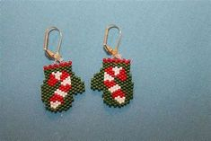 result for Free Brick Stitch Earring Patterns Beaded Christmas Beaded Earrings Patterns, Seed Bead Patterns, Beading Patterns, Bead Earrings, Christmas Earrings, Christmas Jewelry, Hama Beads, Beaded Angels, Beaded Ornaments