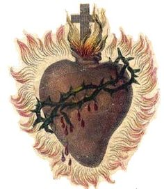 The Sacred Heart is shown wounded, encircled by a crown of thorns, surmounted by a Cross, and aflame with love for mankind. This symbol springs from the vision of the Sacred Heart had by St. Margaret Mary Alacoque.