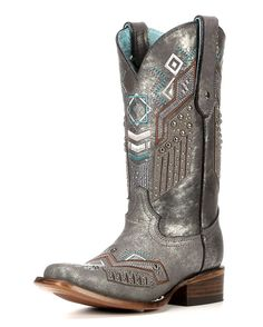 Corral Women's Cowhide Embroidered and Studded Ethnic Square Toe Boot C3011