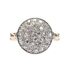 vintage diamond cluster ring - Trumpet & Horn