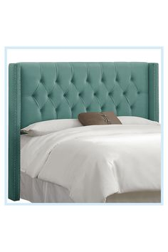 Green Headboard, Full Headboard, Mint Green Bedding, Grey Velvet Bed, California King Headboard, Nailhead Trim, Cozy House, Bed Frame, Boudoir