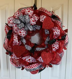 Red Deco Mesh Valentine's Day Wreath. Wild by MadyBellaDesigns