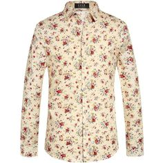 SSLR Men's Floral Cotton Casual Long Sleeve Button Down Shirt (€14) ❤ liked on Polyvore featuring men's fashion, men's clothing, men's shirts, men's casual shirts, mens long sleeve button down shirts, mens extra long sleeve shirts, mens floral long sleeve shirt, mens casual long sleeve shirts and mens button down shirts
