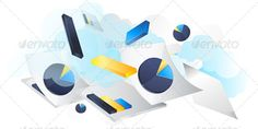 Business Concept, Reports Flying - Illustration