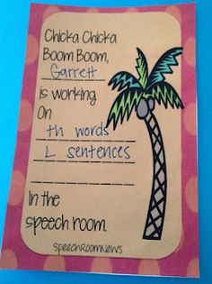 Free!! Chicka chicka boom boom printables for student goal work! Ideas for speech room & beginning therapy thanks to speechroomnews!