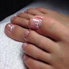 No photo description available. Manicure Y Pedicure, Shellac Nails, Pedicures, Pretty Toe Nails, Cute Nails, Cherry Nails, Summer Toe Nails, Toe Nail Designs, French Pedicure Designs