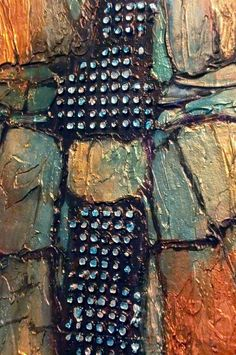 CAROL NELSON FINE ART BLOG - Diamond Mine detail.  Silver leaf on raised dots.