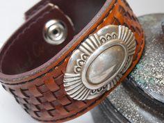Upcycled leather belt bracelet by Lisalousfancybeads on Etsy