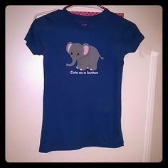 Cute Elephant tshirt Cute as a Button. Blue tshirt. Dear By Amanda Bynes.  From Steve and Barry's Dear By Amanda Bynes  Tops Tees - Short Sleeve