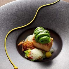 Chef Jan Hartwig -Germany- Pork with braised cucumber, beans, curry & cider...