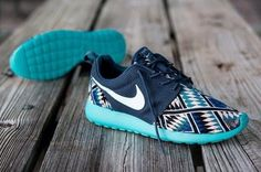 shoes shoes nikes tribal print womens nike roshe runs royal blue baby blue aztec print nike roshe tribal nike roshe run nike run