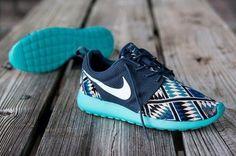 shoes shoes nikes tribal print womens nike roshe runs royal blue baby blue aztec print nike roshe tribal nike roshe run nike run