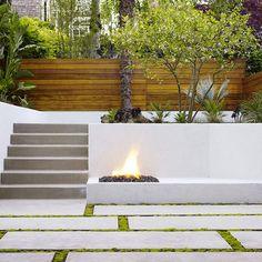 concrete bench retaining wall