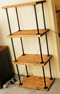 pipe/wood bookcase Do It Yourself Home Projects from Ana White Diy Wood Projects, Furniture Projects, Home Projects, Diy Furniture, Furniture Vintage, Furniture Plans, Furniture Buyers, Furniture Storage, White Furniture