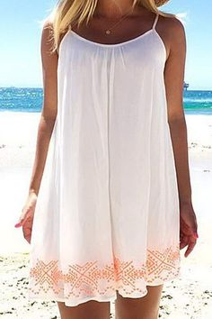 30 Summer Outfits To Rock This Season White National Embroidery Spaghetti Strap Shift Dress The Best of summer fashion in Beach Dresses, Cute Dresses, Casual Dresses, Cute Outfits, Summer Dresses, Dress Beach, Short Dresses, Mini Dresses, Casual Outfits