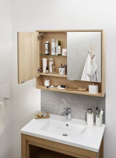 The ideal bathroom cabinet for small bathrooms. It combines mirror, niche and shelves … Practical! Source by Bathroom Interior Design, Mirror Cabinets, Bathroom Mirror Storage, Small Bathroom Decor, Bathroom Mirror Cabinet, Bathroom Decor, Beautiful Bathrooms, Washbasin Design, Small Bathroom Cabinets