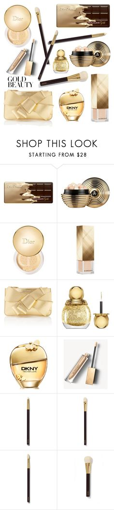 """""""Golden Girls: Gold Beauty"""" by elena-v-ananieva ❤ liked on Polyvore featuring beauty, Too Faced Cosmetics, Guerlain, Christian Dior, Burberry, Delpozo, DKNY, Tom Ford and GoldBeauty"""