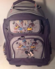 d77f4ef271c4 MICKEY MOUSE Rolling Suitcase Luggage DISNEY Backpack Travel Pilot for Kids…