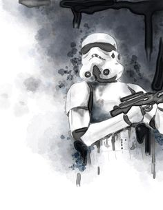 Imperial Stormtrooper, watercolor using Corel Painter.