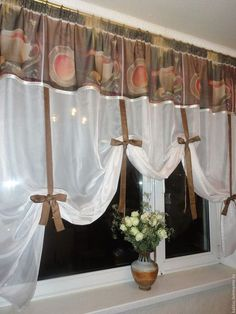 Note satin ribbon --matches color of sheers. Window Curtain Designs, Small Window Curtains, Drapery Designs, Gold Curtains, Ikea Curtains, Kitchen Curtains, Window Treatments Accessories, Farmhouse Curtains, Vintage Pillows