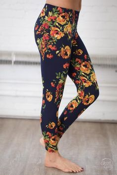 Blossom With Beauty Floral Leggings - Navy Clothing, Shoes & Jewelry - Women - leggings outfit for women - http://amzn.to/2kxu4S1