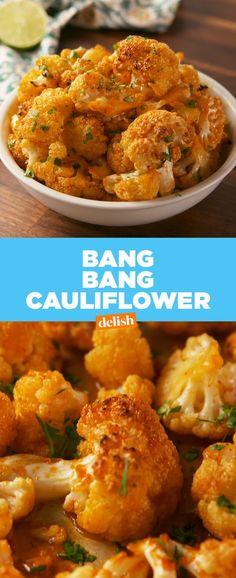 Bang Bang Cauliflower is SCARY addicting. Get the recipe at Delish.com. #cauliflower #vegetable #spicy #recipe #easyrecipe #delish #vegetarian #healthy