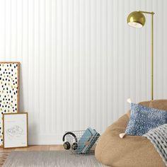Graham & Brown Prepasted Beadboard x Stripes Embossed Wallpaper Roll Brick Wallpaper Roll, Wood Wallpaper, Damask Wallpaper, Embossed Wallpaper, Wallpaper Panels, Striped Wallpaper, Peel And Stick Wallpaper, Wallpaper Ideas, Mdf Wall Panels