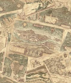 The Wallpaper Company 56 sq. Beige Ancient Maps Wallpaper - The Home Depot Beige Wallpaper, Classic Wallpaper, Map Wallpaper, Wallpaper Samples, Pattern Wallpaper, Wallpaper Ideas, Map Collage, Wallpaper Companies, Prepasted Wallpaper