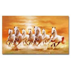 Seven Running White Horse Animals Painting Artistic Canvas Art Gold Posters and Prints Modern Wall Art Picture For Living Room – Wallcorners – Art Canvas Seven Horses Painting, Horse Canvas Painting, Canvas Art, Painting Canvas, Canvas Size, Painted Horses, Horse Pictures, Wall Art Pictures, Sunset Landscape