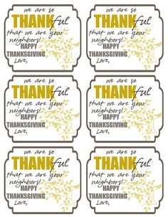 Cute Thanksgiving Tags for Neighbors