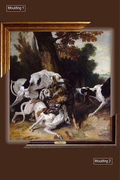 Canvas framed print, L'hallali du loup_Jean-Baptiste Oudry, giclee canvas, gold framed, nameplate, Unique gift for husband