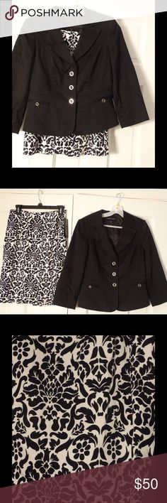 Skirt suit 2pc set. Black jacket with black and white skirt. Dry clean only. Isabel & nina Skirts