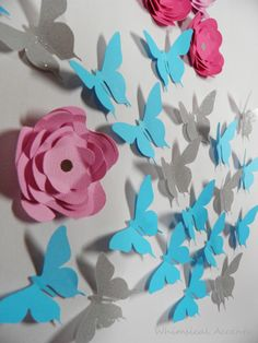 Butterfly and Flower Wall Art Decoration - #diy