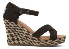 Black Mixed Rope Women's Strappy Wedges   TOMS.co.uk