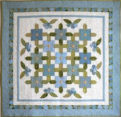 Love the flowers!!  #Quilt = Summertime Blues by Jilily Studio
