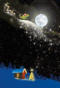 Julekort uden støtte. Motiv: Julemanden. månen. stjernehimmel, julenat, firmajulekort, firma julekort, erhvervsjulekort, julekort til erhverv, julekort med logo, julekort, velgørenhedsjulekort, julekort med tryk
