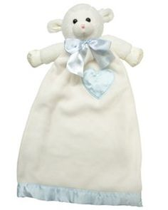 "$26.95-$24.99 Baby Lovie (Large) - Lenny Lamb Blue Security Blanket Plush - Lovie Lenny Lamb Blue            Lovie Lenny Lamb is a great sleepy time friend and is always waiting for   night time snuggles and bedtime hugs. This super comfy security plush toy offers   the finest detailing with a ultra thick stitched nose and huggable fleece and   petal soft satin. Each Lovie is 24"" long and 14"" at ..."